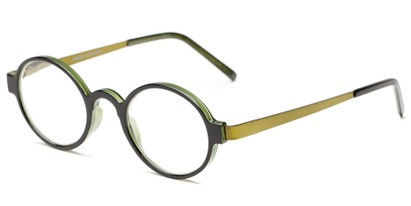 Angle of The Elton in Black/Green, Women's and Men's Round Reading Glasses