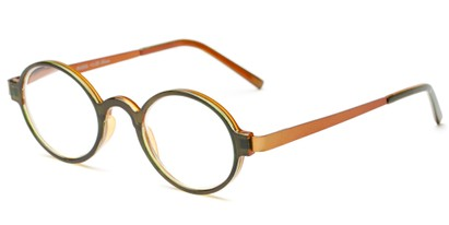 Angle of The Elton in Green/Orange, Women's and Men's Round Reading Glasses