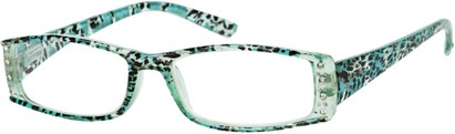Angle of The Countess in Blue Leopard, Women's Rectangle Reading Glasses