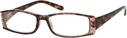 Angle of The Countess in Brown Leopard, Women's Rectangle Reading Glasses