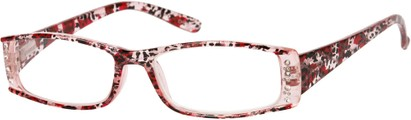 Angle of The Countess in Pink Leopard, Women's Rectangle Reading Glasses