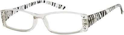 Angle of The Countess in Clear/Black Zebra, Women's Rectangle Reading Glasses