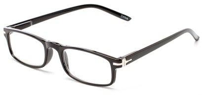 Angle of The Geneva in Black, Women's and Men's Rectangle Reading Glasses