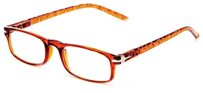 Angle of The Geneva in Light Brown, Women's and Men's Rectangle Reading Glasses