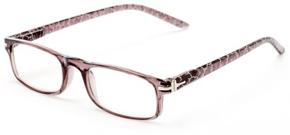 Angle of The Geneva in Grey, Women's and Men's Rectangle Reading Glasses