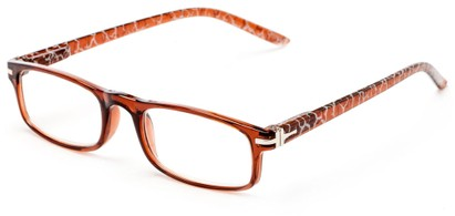 Angle of The Geneva in Dark Brown, Women's and Men's Rectangle Reading Glasses