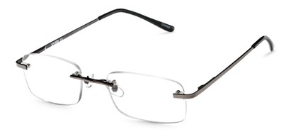 Angle of The Oakmont in Grey, Women's and Men's Retro Square Reading Glasses