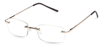 Angle of The Oakmont in Gold, Women's and Men's Retro Square Reading Glasses