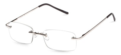 Angle of The Oakmont in Silver, Women's and Men's Retro Square Reading Glasses