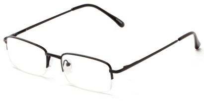 Angle of The Meade in Black, Women's and Men's Rectangle Reading Glasses