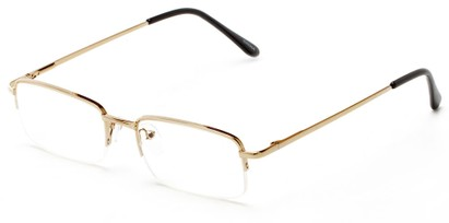 Angle of The Meade in Gold, Women's and Men's Rectangle Reading Glasses