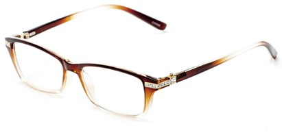 Angle of The Ingrid in Brown/Clear Fade, Women's Cat Eye Reading Glasses