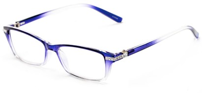Angle of The Ingrid in Purple/Clear Fade, Women's Cat Eye Reading Glasses