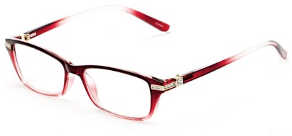 Angle of The Ingrid in Red/Clear Fade, Women's Cat Eye Reading Glasses