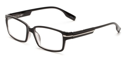 Angle of The Gus in Black, Women's and Men's Rectangle Reading Glasses