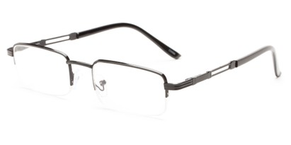 Angle of The Napolean in Black, Women's and Men's Rectangle Reading Glasses