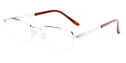 Angle of The Napolean in Gold, Women's and Men's Rectangle Reading Glasses