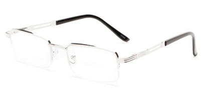 Angle of The Napolean in Silver, Women's and Men's Rectangle Reading Glasses