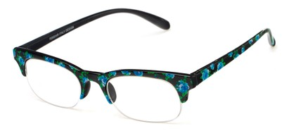 Angle of The Trista in Blue/Black Floral, Women's Browline Reading Glasses
