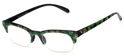 Angle of The Trista in Brown/Black Floral, Women's Browline Reading Glasses