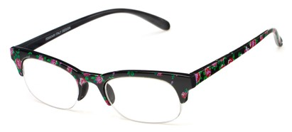 Angle of The Trista in Pink/Black Floral, Women's Browline Reading Glasses