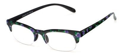 Angle of The Trista in Purple/Black Floral, Women's Browline Reading Glasses