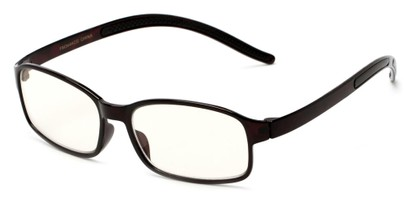 Angle of The Bogart Unmagnified Computer Glasses in Glossy Tortoise with Yellow, Women's and Men's Rectangle Reading Glasses