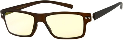 Angle of The Casper Flexible Computer Glasses in Matte Brown, Women's and Men's