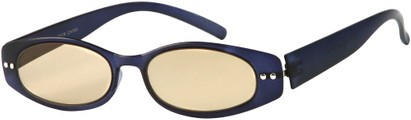 Angle of The Dover Flexible Computer Reader in Matte Blue, Women's and Men's Oval Reading Glasses