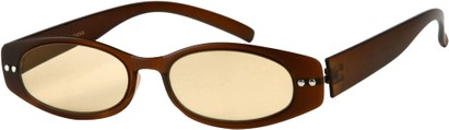 Angle of The Dover Flexible Computer Reader in Matte Brown, Women's and Men's Oval Reading Glasses