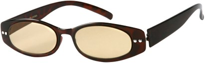 Angle of The Dover Flexible Computer Reader in Glossy Brown Tortoise, Women's and Men's Oval Reading Glasses