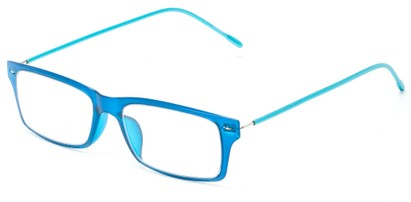 Angle of The Ovation Flexible Reader in Blue/Aqua, Women's and Men's Rectangle Reading Glasses