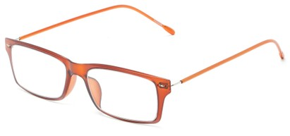 Angle of The Ovation Flexible Reader in Orange, Women's and Men's Rectangle Reading Glasses