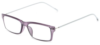 Angle of The Ovation Flexible Reader in Purple/Silver, Women's and Men's Rectangle Reading Glasses