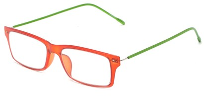 Angle of The Ovation Flexible Reader in Orange/Green, Women's and Men's Rectangle Reading Glasses
