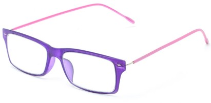 Angle of The Ovation Flexible Reader in Purple/Pink, Women's and Men's Rectangle Reading Glasses