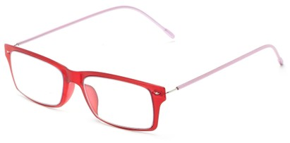 Angle of The Ovation Flexible Reader in Red/Pink, Women's and Men's Rectangle Reading Glasses