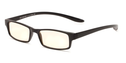 Angle of The Fairbanks Computer Reader in Matte Black with Yellow, Women's and Men's Rectangle Reading Glasses