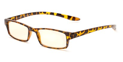 Angle of The Fairbanks Computer Reader in Glossy Tortoise with Yellow, Women's and Men's Rectangle Reading Glasses