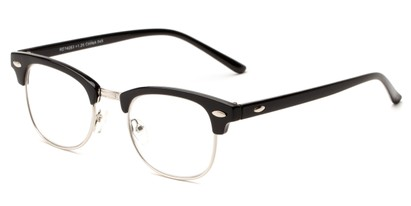 Angle of The Fern in Glossy Black/Silver, Women's and Men's Browline Reading Glasses