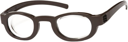 Angle of FocusSpecs Adjustable Focus Reader in Henna Brown, Women's and Men's Retro Square Reading Glasses