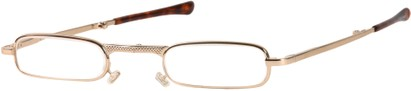 Angle of The Cook Folding Reader in Gold with Tortoise Trim, Women's and Men's