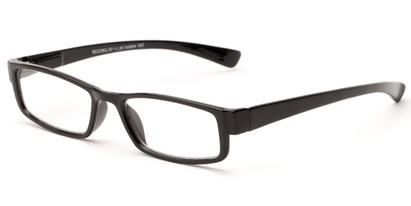 Angle of The Frasier in Black, Women's and Men's Rectangle Reading Glasses