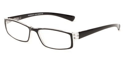 Angle of The Frasier in Black/Clear, Women's and Men's Rectangle Reading Glasses