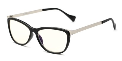 Angle of The Frida Computer Reader in Black/Silver with Yellow, Women's Cat Eye Reading Glasses