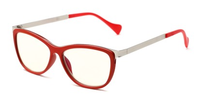 Angle of The Frida Computer Reader in Red/Silver with Yellow, Women's Cat Eye Reading Glasses