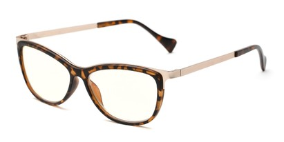 Angle of The Frida Computer Reader in Tortoise/Gold with Yellow, Women's Cat Eye Reading Glasses