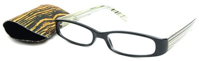 Angle of The Avery Eco-Friendly Reader in Black Yellow Stripe, Women's and Men's