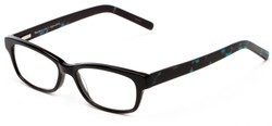 Angle of The Claremore Signature Reader in Black and Blue Tortoise, Women's and Men's Retro Square Reading Glasses