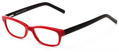 Angle of The Claremore Signature Reader in Red and Black, Women's and Men's Retro Square Reading Glasses